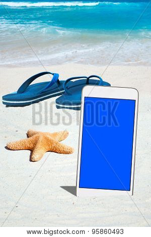 White Smartphone And Flip Flops