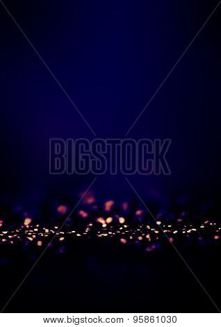 Dark Blue Defocused Bokeh Twinkling Lights Vintage Background. Festive Christmas Elegant Abstract Ba