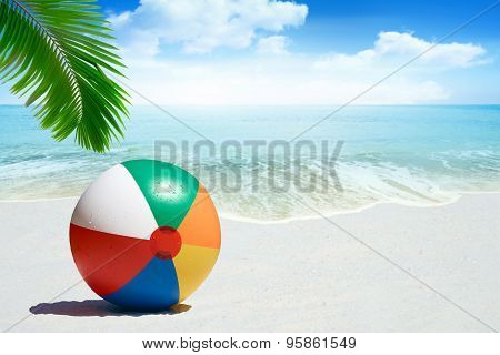 Beach Ball On Sandy Beach
