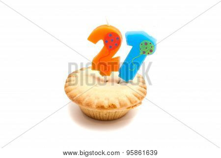 Cupcake With Twenty One Years Birthday Candle On White