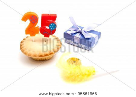 Cupcake With Twenty Five Years Birthday Candle, Whistle And Gift