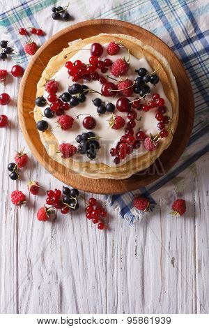 Crepes With Berries And Cream. Vertical Top View