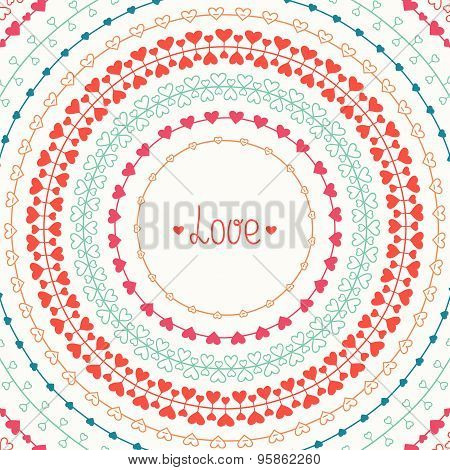 Hand drawn vector colorful line border, frame set and scribble design element. Valentine day vintage