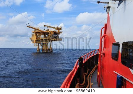 Offshore Production Platform For Petroleum Development View From Crew Boat.