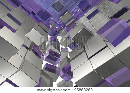 Abstract 3d illustration gray violet cubes
