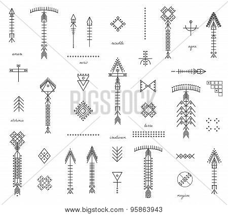 Set Of Geometric Hipster Shapes And Arrows