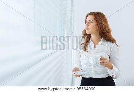 Businesswoman having a break