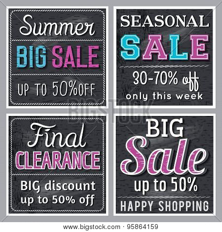Black Square Banners With Sale Offer, Vector