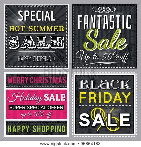 Black  Banners With Sale Offer, Vector