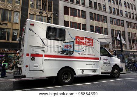 NEW YORK CITY - FRIDAY, JUNE 19, 2015: A repair truck from Verizon Communications Inc.