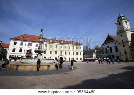 BRATISLAVA, SLOVAKIA - SATURDAY, APRIL 11, 2015: General views of the old town of Bratislava, Slovakia. Many of the buildings date to the 18th and 17th centuries.
