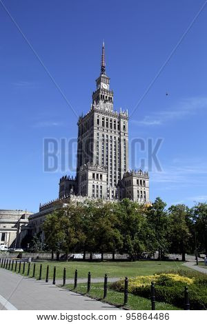 WARSAW, POLAND - SATURDAY, JUNE 6, 2015: A general view of the skyline of Warsaw, including the palace of culture, at right.