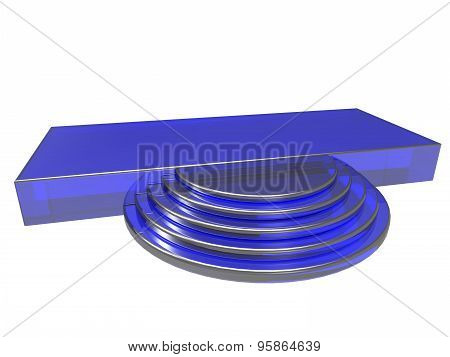 modern podium made in blue color