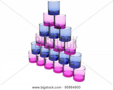 Pyramide Of Glases In Pink And Blue