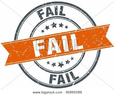 Fail Round Orange Grungy Vintage Isolated Stamp