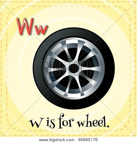 Flashcard of alphabet W is for wheel
