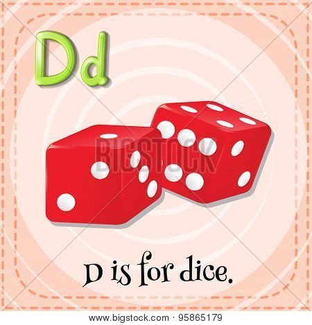 Flashcard of alphabet D is for dice