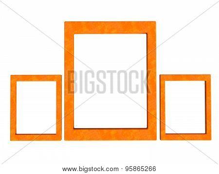 Three Textured Photoframes Set In Orange