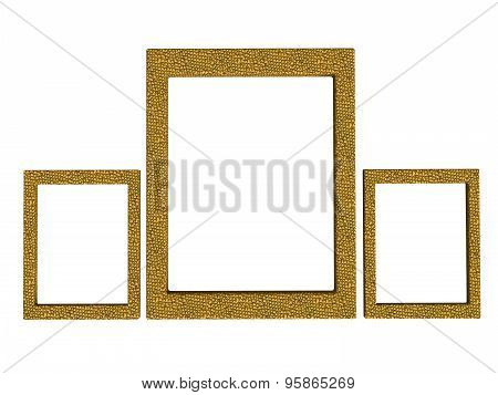 Three Textured Photoframes Set In Yellow