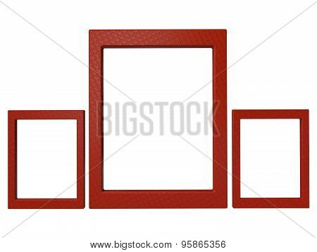 Three Textured Photoframes Set In Red