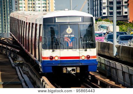 BTS Sky train at a saphan taksin station