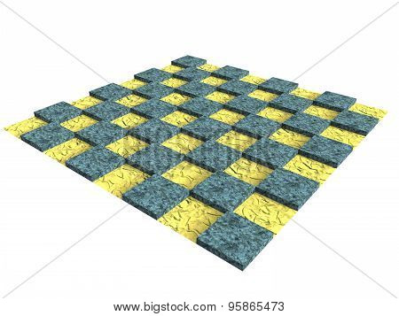 Textured Wooden Chessboard In Yellow And Blue