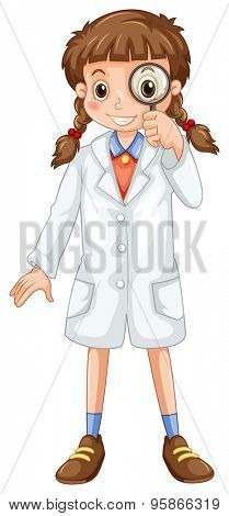Girl wearing white overcoat looking through a magnifying glass