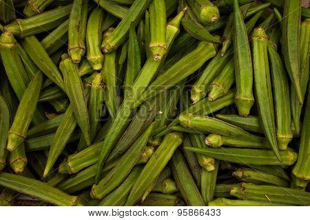 Fresh Raw Green Lady Finger - Okra
