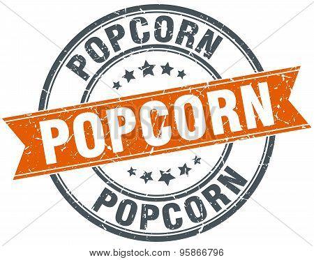 Popcorn Round Orange Grungy Vintage Isolated Stamp