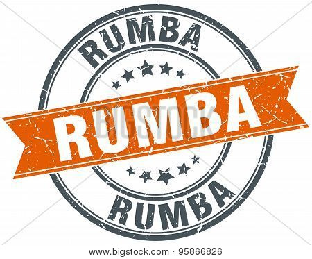 Rumba Round Orange Grungy Vintage Isolated Stamp