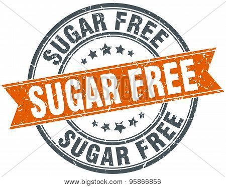 Sugar Free Round Orange Grungy Vintage Isolated Stamp