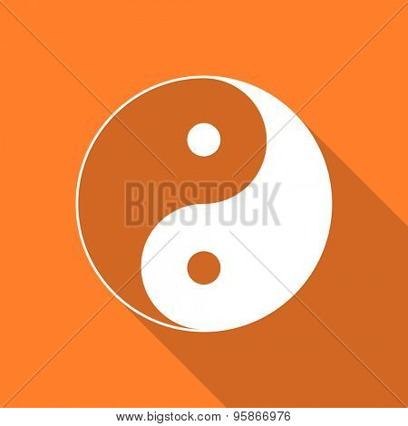 ying yang flat design modern icon with long shadow for web and mobile app