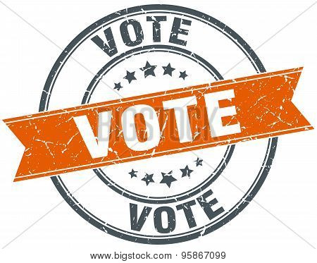 Vote Round Orange Grungy Vintage Isolated Stamp