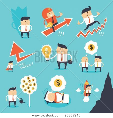 Vector set - funny business people