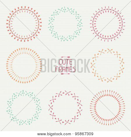 Set of colorful arrows frames. Trendy hand drawn doodles style. Sketch. Illustration. Vector ethnic