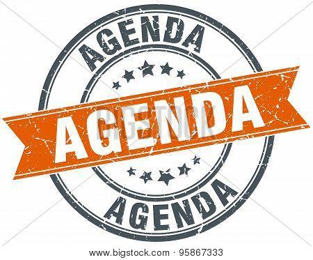 Agenda Round Orange Grungy Vintage Isolated Stamp