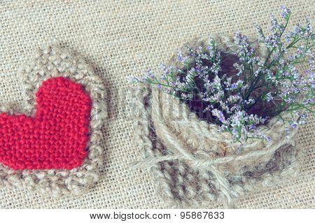 Decor, Handmade, Flower Pot, Heart, Vintage Style