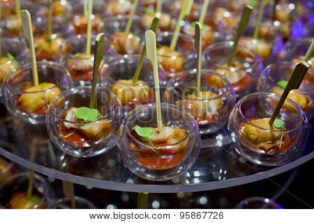 Finger Food In Small Glass With Stick