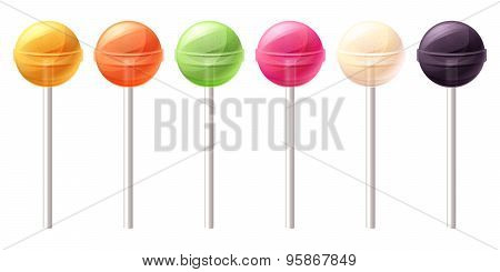 Set of glossy round colorful lollipops.