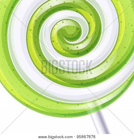 Green and white big lollipop spiral candy background.