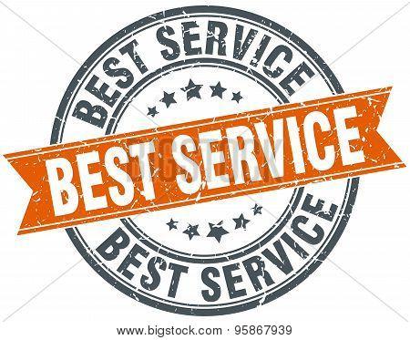 Best Service Round Orange Grungy Vintage Isolated Stamp