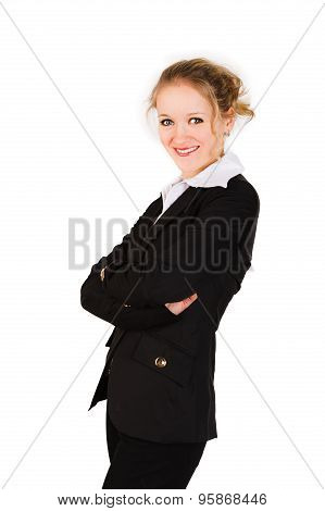 Smiling woman in black suit with her arm crosswised