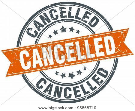 Cancelled Round Orange Grungy Vintage Isolated Stamp