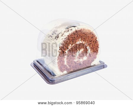 Piece Of Roll Cake Inside Plastic Take Away Packaging