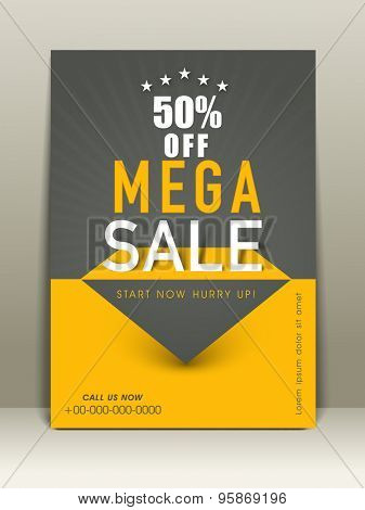 Mega sale flyer with 50%  offa, ddress bar and place holder.