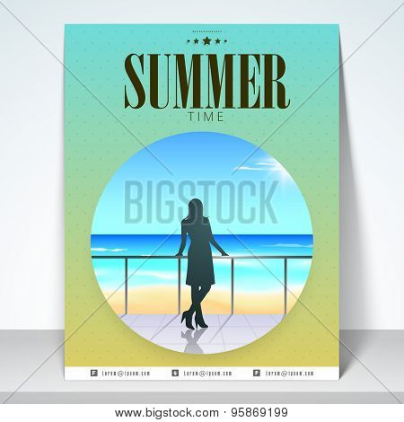Stylish nature view poster, banner and flyer for tourism with mailer.