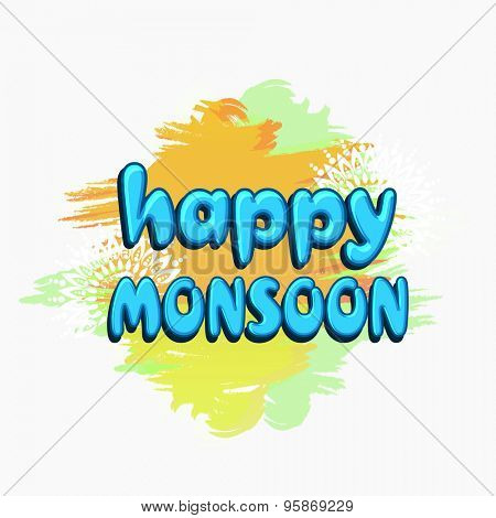 Elegant poster, banner or flyer design with shiny blue text Happy Monsoon on floral decorated colorful splash background.