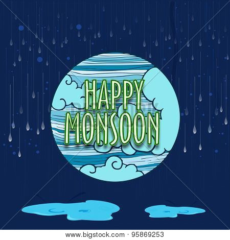 Creative sticky design with stylish text Happy Monsoon on clouds and raindrops decorated blue background.