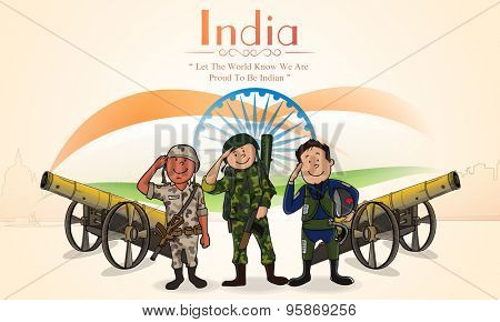 Illustration of saluting Indian force officers with cannons on National Flag background for Independence Day celebration.