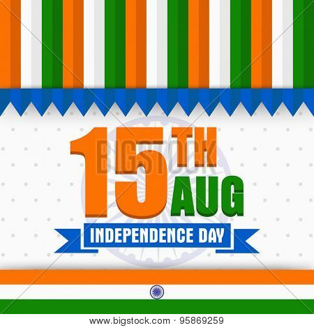 National tricolor greeting card design with stylish text 15th Aug on Ashoka Wheel background for Indian Independence Day celebration.